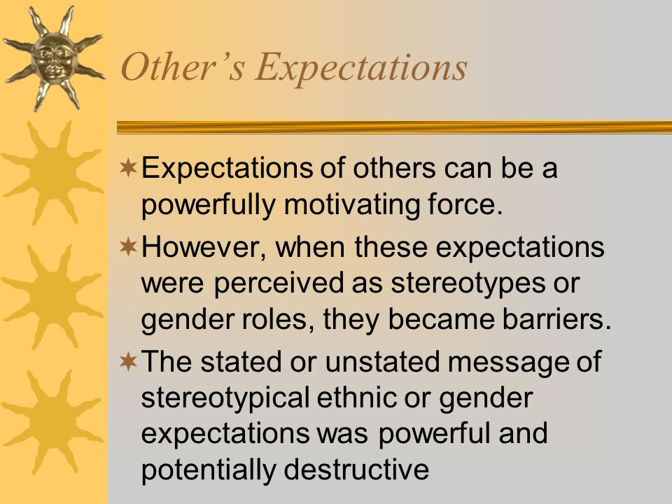 Others Expectations Expectations of others can be a powerfully motivating force.