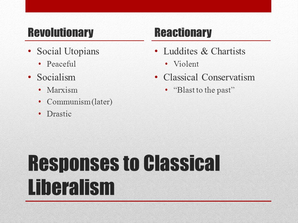 Responses to Classical Liberalism Revolutionary Social Utopians Peaceful Socialism Marxism Communism (later) Drastic Reactionary Luddites & Chartists
