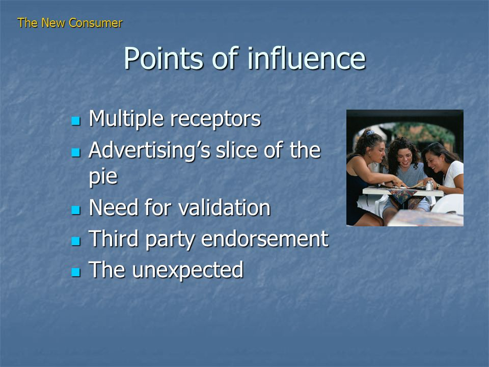 Points of influence Multiple receptors Multiple receptors Advertisings slice of the pie Advertisings slice of the pie Need for validation Need for validation Third party endorsement Third party endorsement The unexpected The unexpected The New Consumer