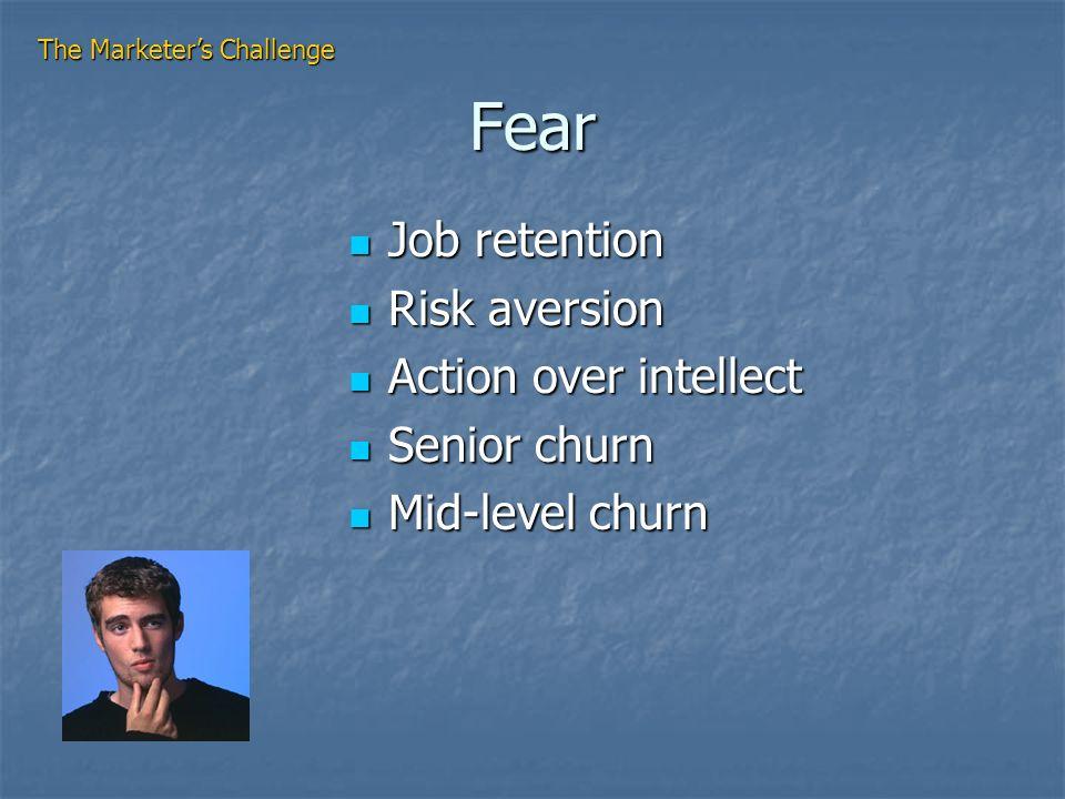 Fear Job retention Job retention Risk aversion Risk aversion Action over intellect Action over intellect Senior churn Senior churn Mid-level churn Mid