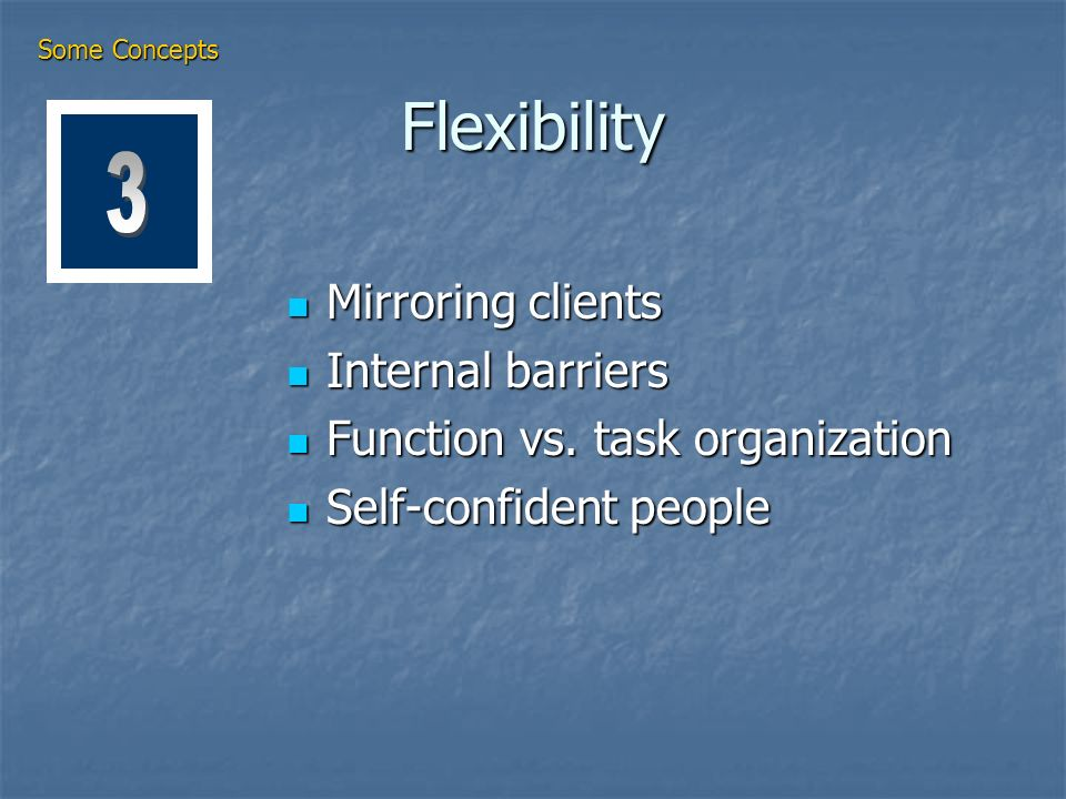 Flexibility Mirroring clients Mirroring clients Internal barriers Internal barriers Function vs.