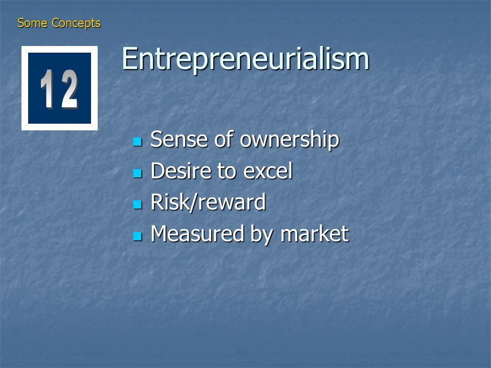 Entrepreneurialism Sense of ownership Sense of ownership Desire to excel Desire to excel Risk/reward Risk/reward Measured by market Measured by market