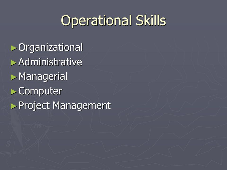 Operational Skills Organizational Organizational Administrative Administrative Managerial Managerial Computer Computer Project Management Project Management