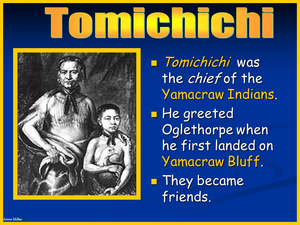 Anne Miller Tomichichi was the chief of the Yamacraw Indians. Tomichichi was the chief of the Yamacraw Indians. He greeted Oglethorpe when he first la