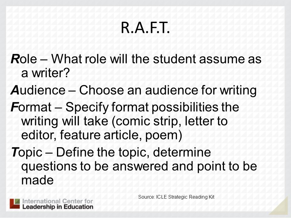 R.A.F.T. Role – What role will the student assume as a writer? Audience – Choose an audience for writing Format – Specify format possibilities the wri