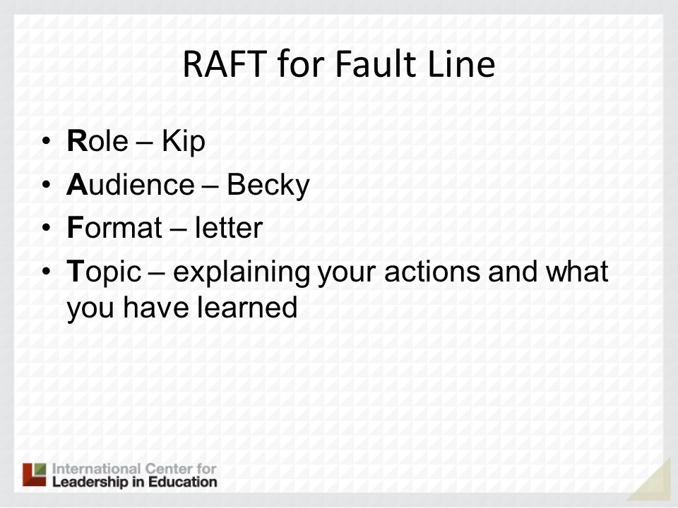RAFT for Fault Line Role – Kip Audience – Becky Format – letter Topic – explaining your actions and what you have learned