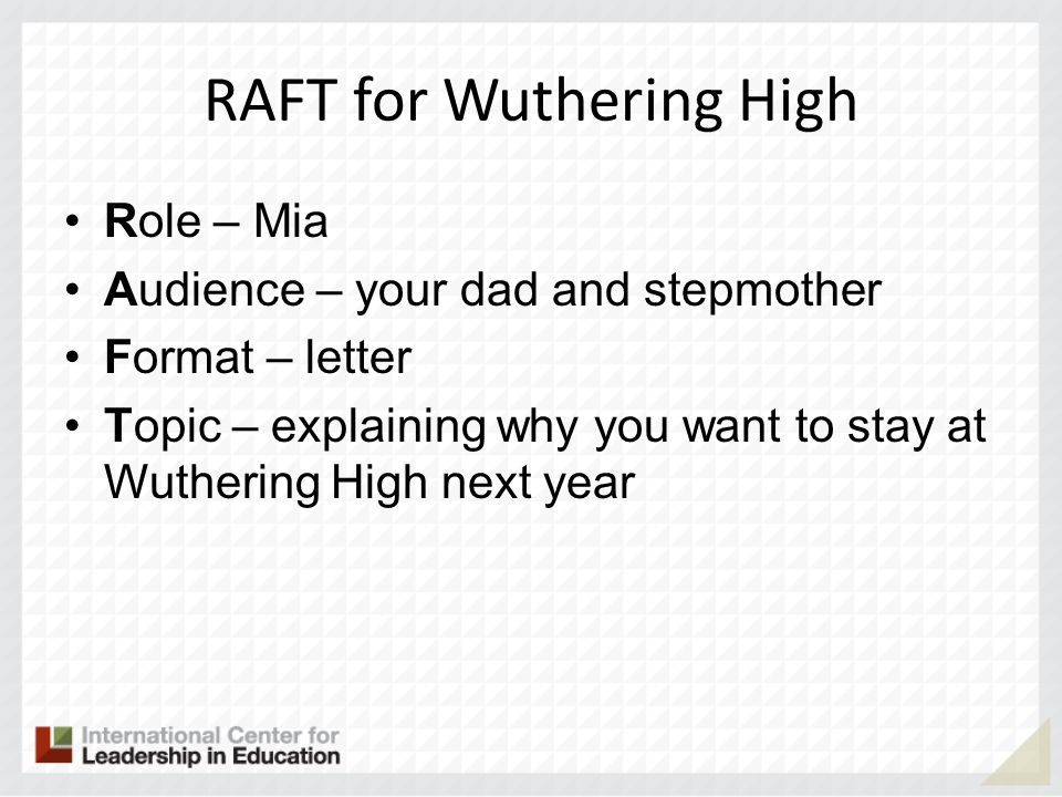 RAFT for Wuthering High Role – Mia Audience – your dad and stepmother Format – letter Topic – explaining why you want to stay at Wuthering High next y