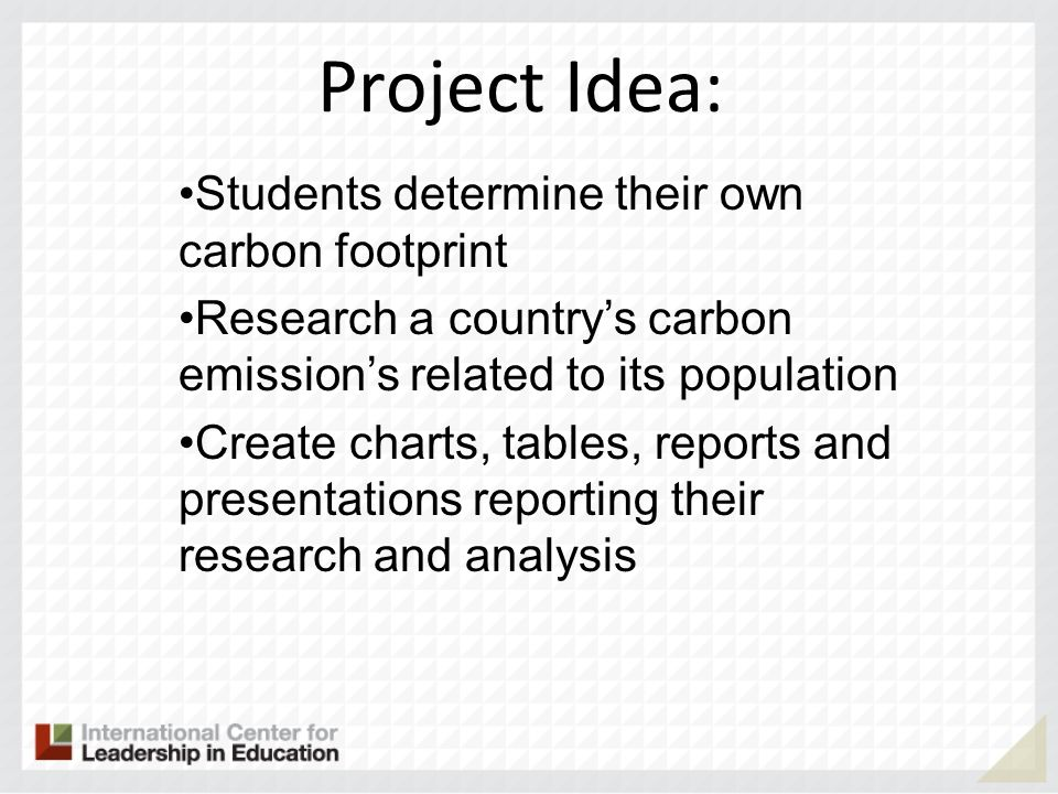 Project Idea: Students determine their own carbon footprint Research a countrys carbon emissions related to its population Create charts, tables, repo