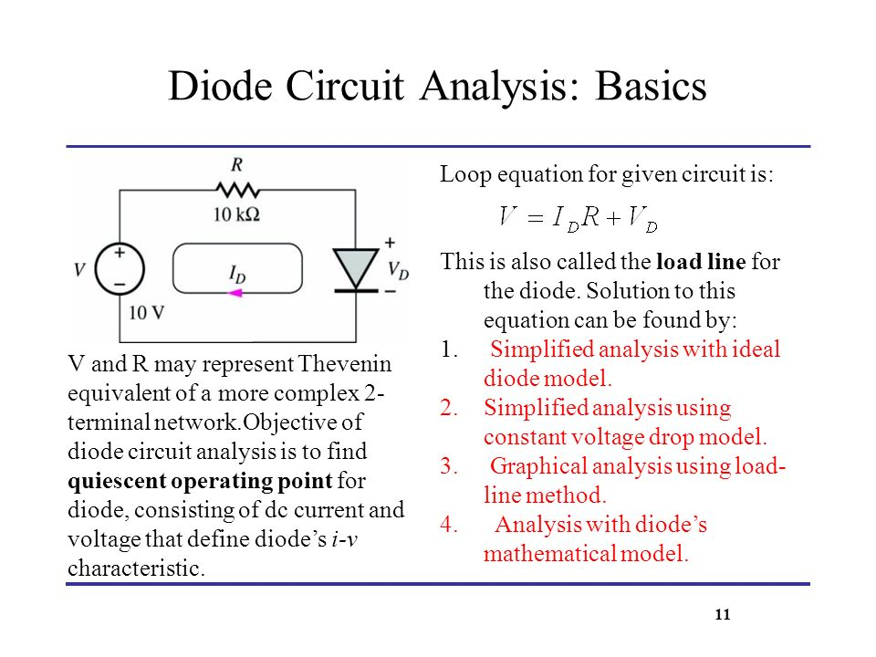 Diode Circuit Analysis: Basics V and R may represent Thevenin equivalent of a more complex 2- terminal network.Objective of diode circuit analysis is