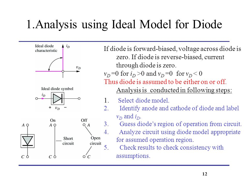 1.Analysis using Ideal Model for Diode If diode is forward-biased, voltage across diode is zero. If diode is reverse-biased, current through diode is