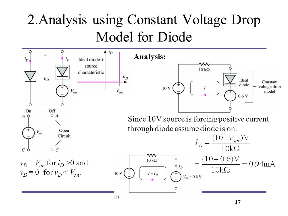 2.Analysis using Constant Voltage Drop Model for Diode Analysis: Since 10V source is forcing positive current through diode assume diode is on. v D =