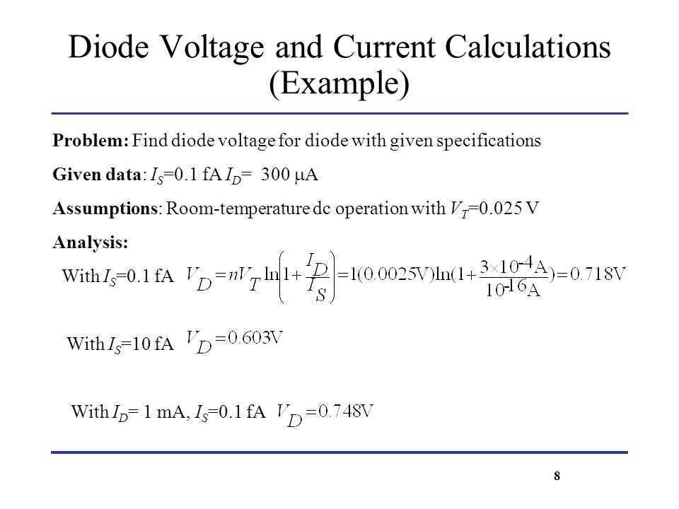 Diode Voltage and Current Calculations (Example) Problem: Find diode voltage for diode with given specifications Given data: I S =0.1 fA I D = 300 A A