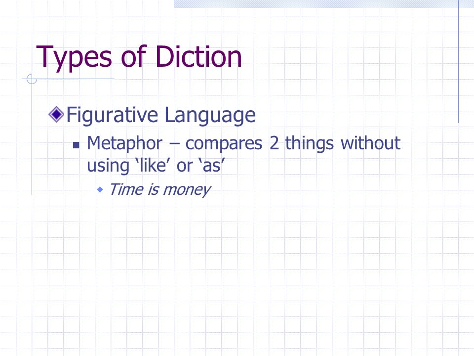 Types of Diction Figurative Language Metaphor – compares 2 things without using like or as Time is money