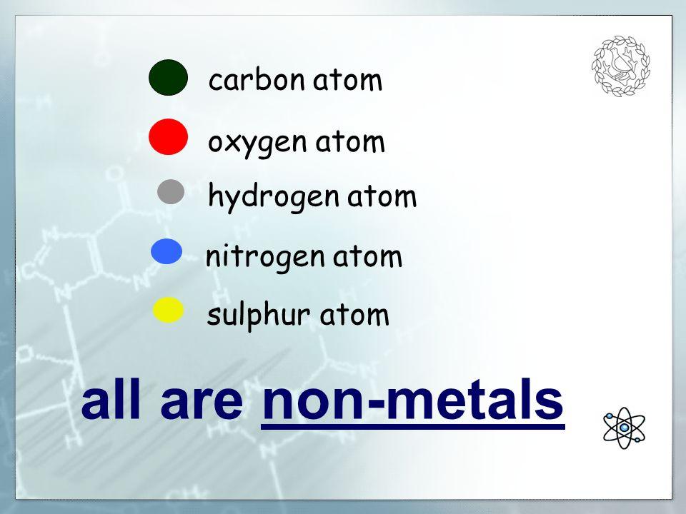 carbon atom oxygen atom hydrogen atom nitrogen atom sulphur atom all are non-metals