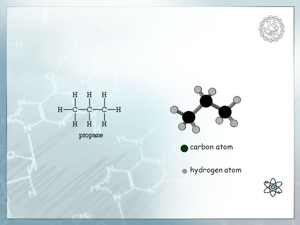 carbon atom oxygen atom hydrogen atom