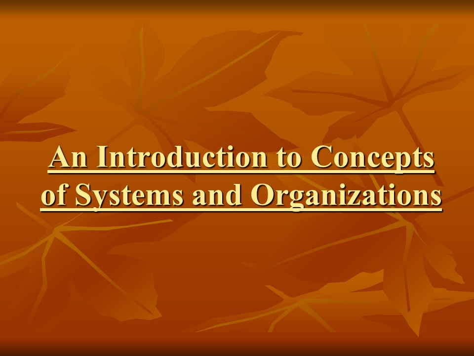 An Introduction to Concepts of Systems and Organizations
