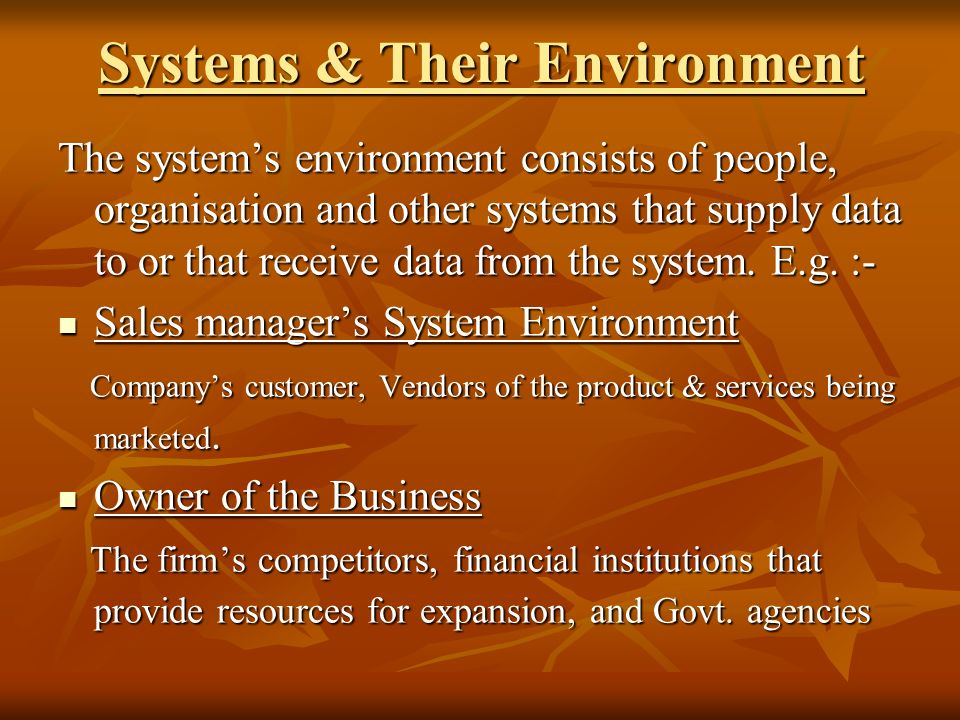 Systems & Their Environment The systems environment consists of people, organisation and other systems that supply data to or that receive data from the system.