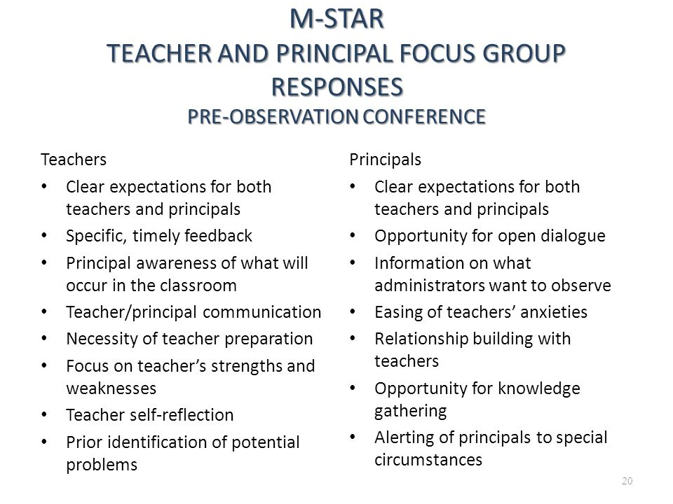 20 M-STAR TEACHER AND PRINCIPAL FOCUS GROUP RESPONSES PRE-OBSERVATION CONFERENCE Teachers Clear expectations for both teachers and principals Specific
