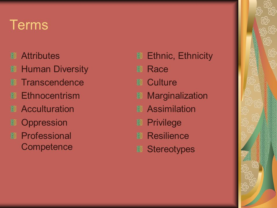 Terms Attributes Human Diversity Transcendence Ethnocentrism Acculturation Oppression Professional Competence Ethnic, Ethnicity Race Culture Marginali