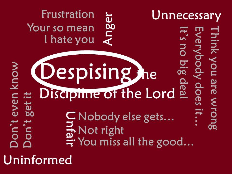 Responding to Gods Spankings You can respond wrongly Despise Despise His discipline Discouraged Discouraged by His discipline You can respond rightly Respect Respect Him who disciplines