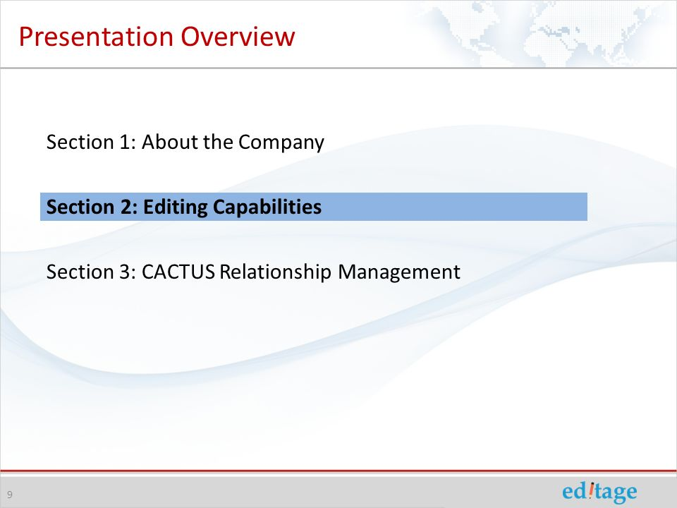 Presentation Overview Section 1: About the Company Section 2: Editing Capabilities Section 3: CACTUS Relationship Management 9