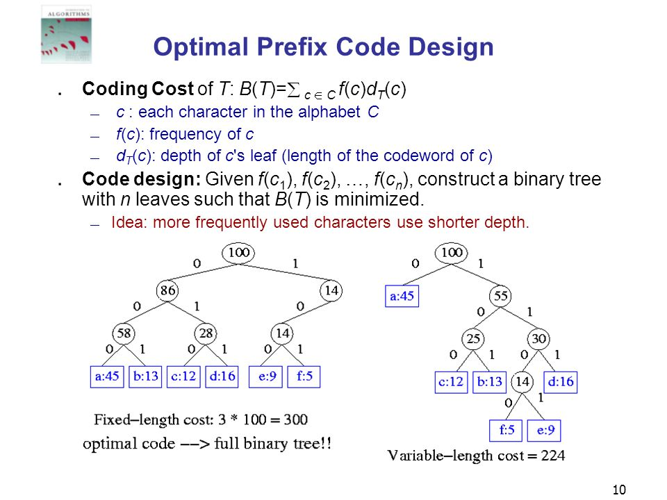 10 Optimal Prefix Code Design Coding Cost of T: B(T)= c C f(c)d T (c) c : each character in the alphabet C f(c): frequency of c d T (c): depth of c's