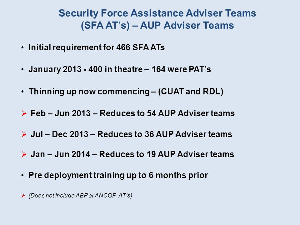Security Force Assistance Adviser Teams (SFA ATs) – AUP Adviser Teams Initial requirement for 466 SFA ATs January 2013 - 400 in theatre – 164 were PAT