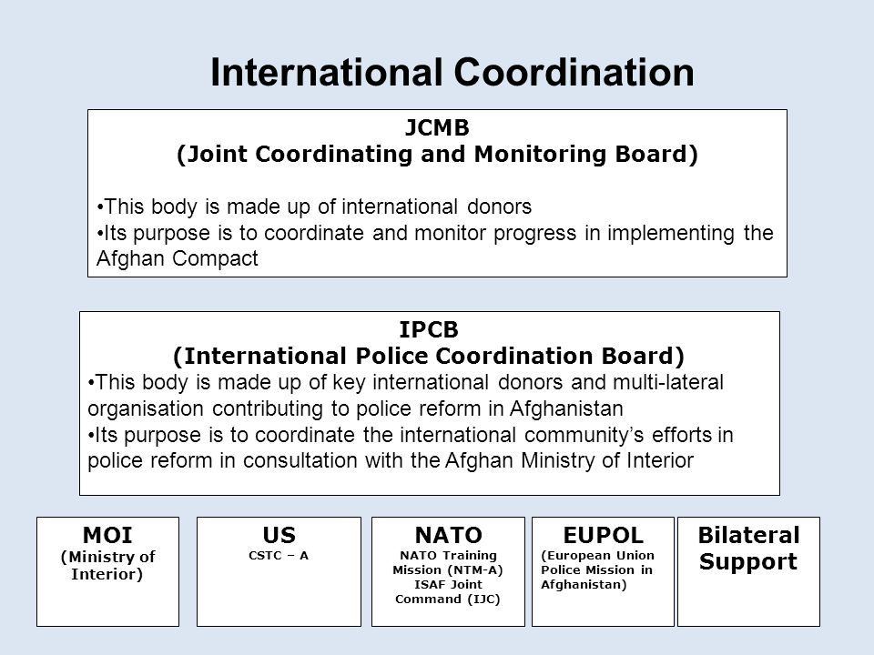 International Coordination JCMB (Joint Coordinating and Monitoring Board) This body is made up of international donors Its purpose is to coordinate an