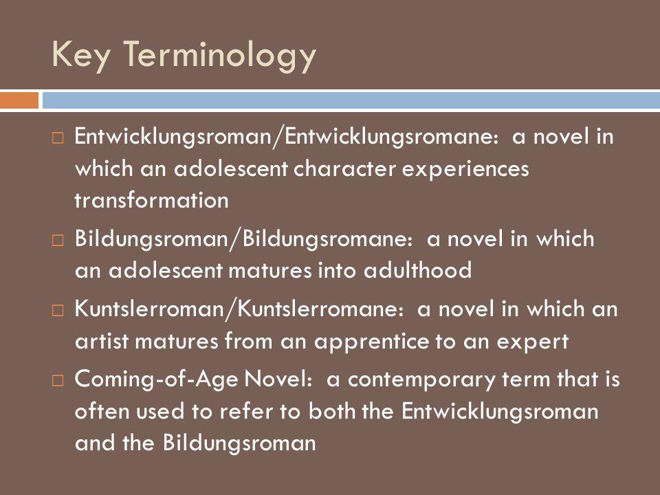 Key Terminology Entwicklungsroman/Entwicklungsromane: a novel in which an adolescent character experiences transformation Bildungsroman/Bildungsromane