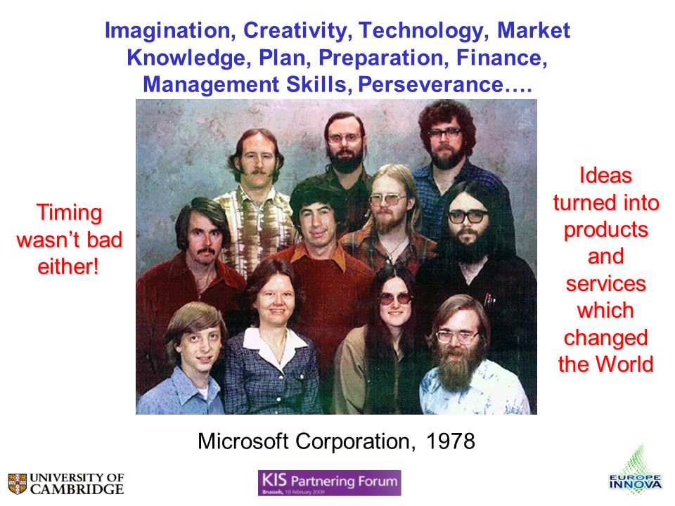 Imagination, Creativity, Technology, Market Knowledge, Plan, Preparation, Finance, Management Skills, Perseverance…. Microsoft Corporation, 1978 Timin