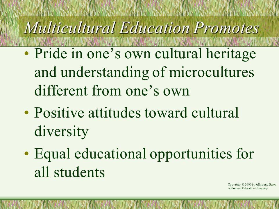 Multicultural Education Promotes Pride in ones own cultural heritage and understanding of microcultures different from ones own Positive attitudes toward cultural diversity Equal educational opportunities for all students Copyright © 2000 by Allyn and Bacon A Pearson Education Company