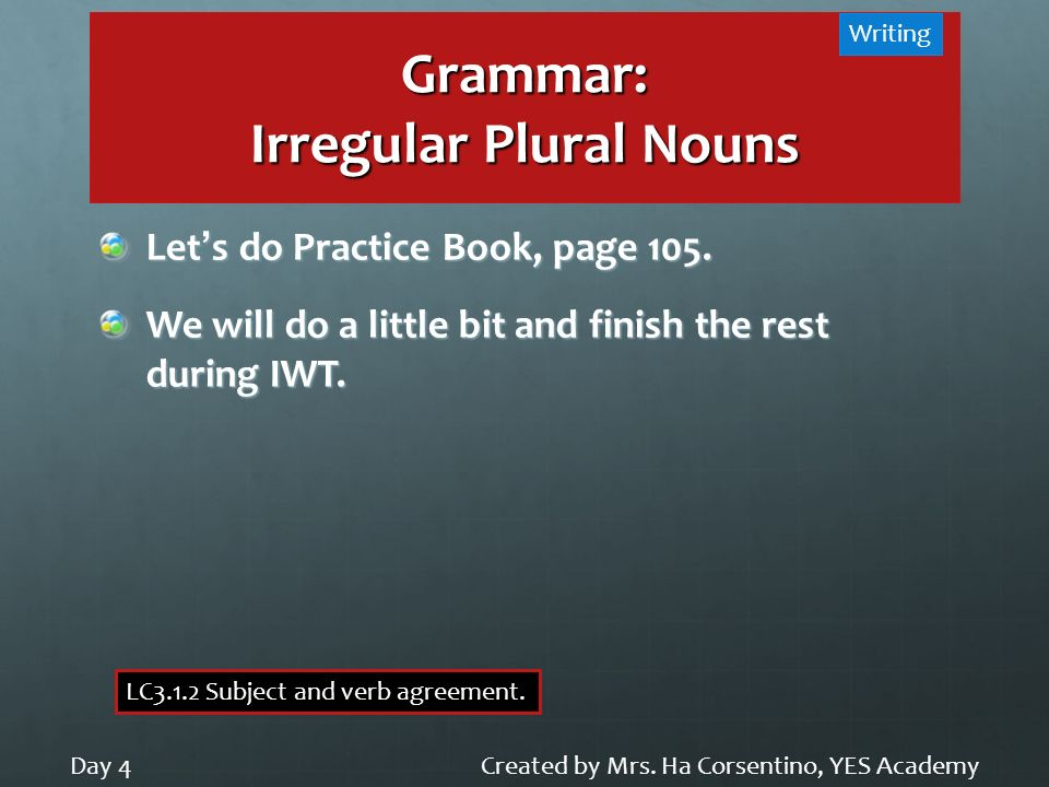 Grammar: Irregular Plural Nouns Created by Mrs. Ha Corsentino, YES AcademyDay 4 Writing LC3.1.2 Subject and verb agreement. Lets do Practice Book, pag