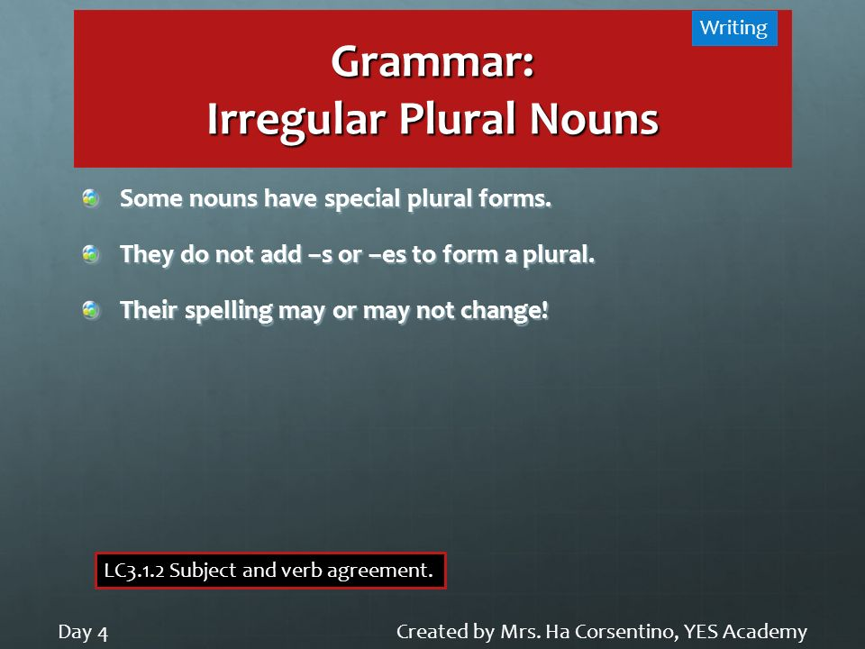 Grammar: Irregular Plural Nouns Created by Mrs. Ha Corsentino, YES AcademyDay 4 Writing LC3.1.2 Subject and verb agreement. Some nouns have special pl