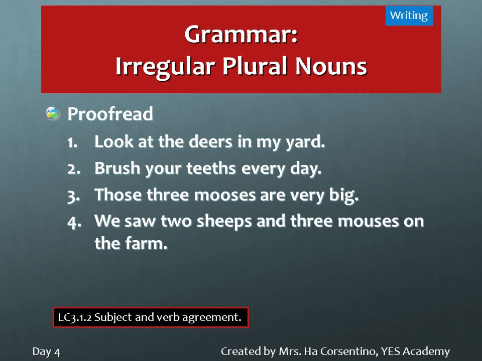 Grammar: Irregular Plural Nouns Created by Mrs. Ha Corsentino, YES AcademyDay 4 Writing LC3.1.2 Subject and verb agreement. Proofread 1.Look at the de
