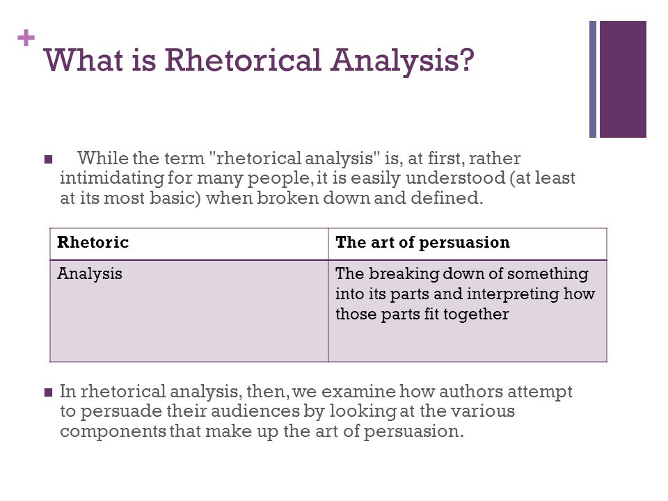 + What is Rhetorical Analysis? While the term