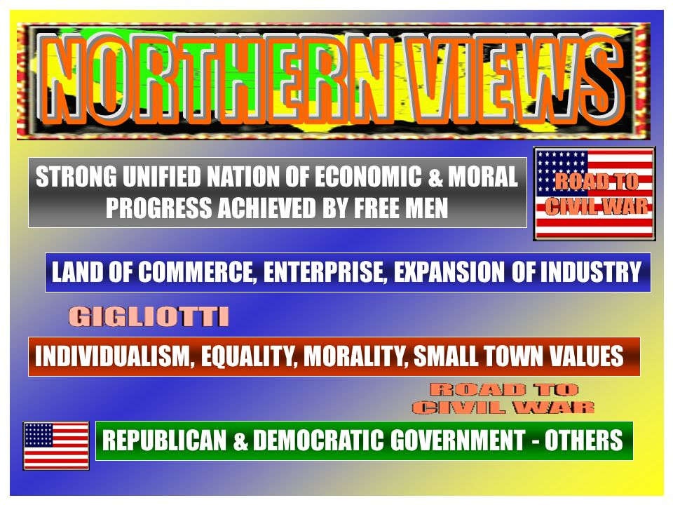 STRONG UNIFIED NATION OF ECONOMIC & MORAL PROGRESS ACHIEVED BY FREE MEN LAND OF COMMERCE, ENTERPRISE, EXPANSION OF INDUSTRY INDIVIDUALISM, EQUALITY, MORALITY, SMALL TOWN VALUES REPUBLICAN & DEMOCRATIC GOVERNMENT - OTHERS