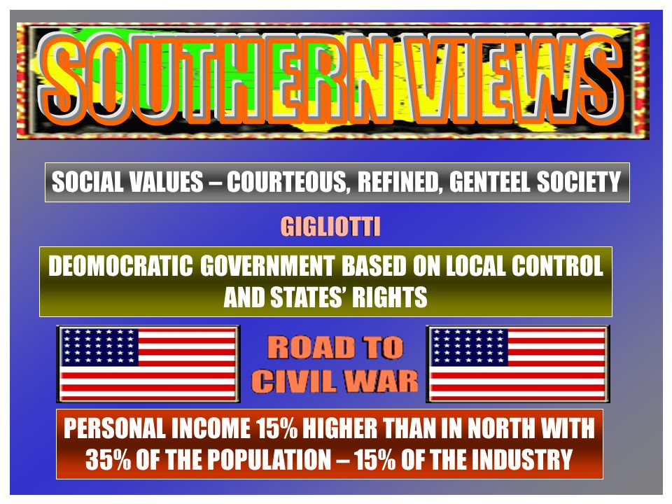 SOCIAL VALUES – COURTEOUS, REFINED, GENTEEL SOCIETY DEOMOCRATIC GOVERNMENT BASED ON LOCAL CONTROL AND STATES RIGHTS PERSONAL INCOME 15% HIGHER THAN IN NORTH WITH 35% OF THE POPULATION – 15% OF THE INDUSTRY