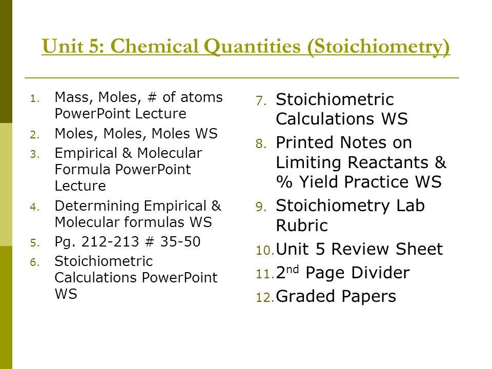 Unit 5: Chemical Quantities (Stoichiometry) 1. Mass, Moles, # of atoms PowerPoint Lecture 2. Moles, Moles, Moles WS 3. Empirical & Molecular Formula P