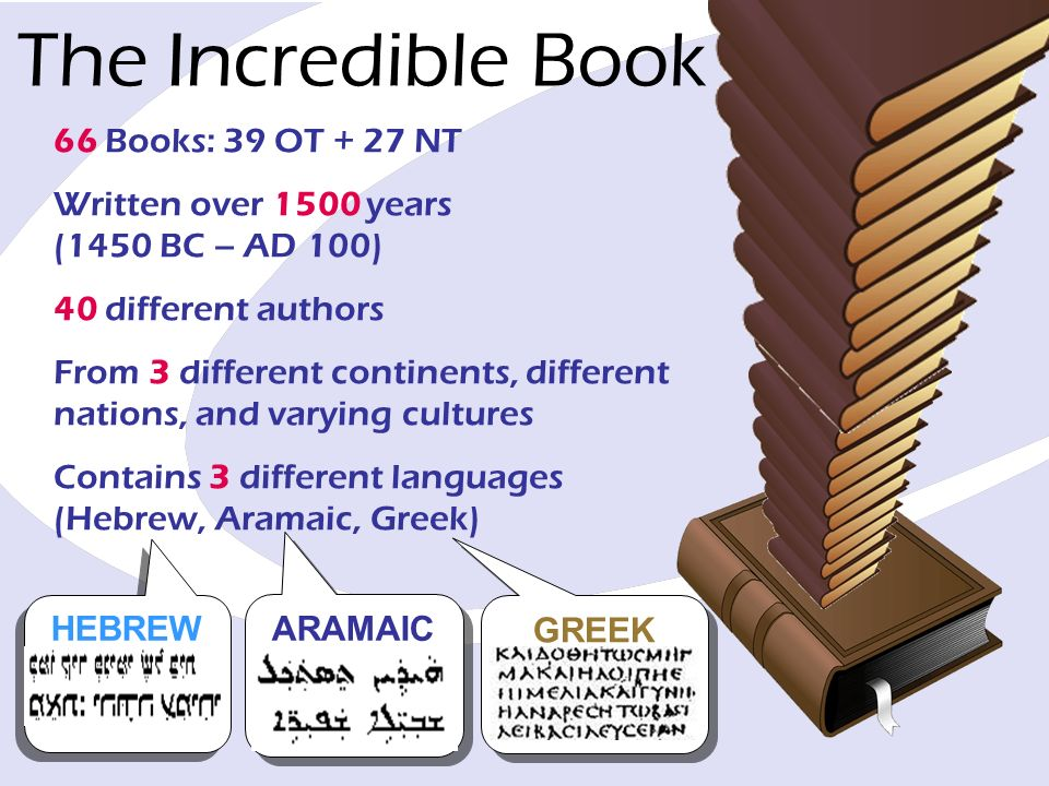 66 Books: 39 OT + 27 NT Written over 1500 years (1450 BC – AD 100) 40 different authors From 3 different continents, different nations, and varying cu
