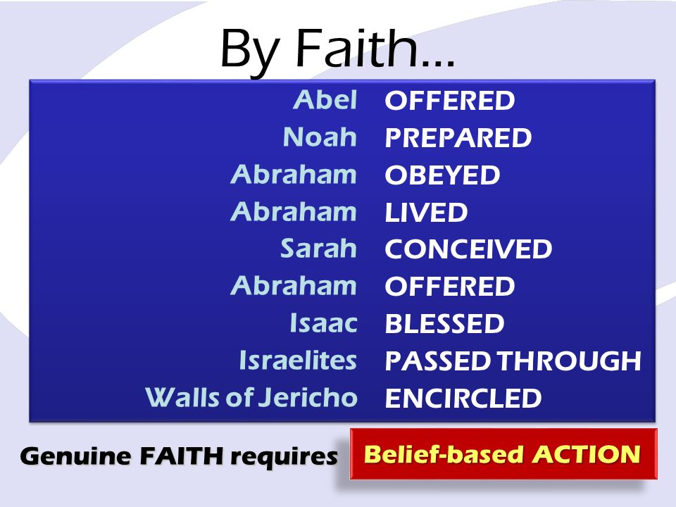 By Faith… Abel Noah Abraham Sarah Abraham Isaac Israelites Walls of Jericho OFFERED PREPARED OBEYED LIVED CONCEIVED OFFERED BLESSED PASSED THROUGH ENCIRCLED Genuine FAITH requires Belief-based ACTION