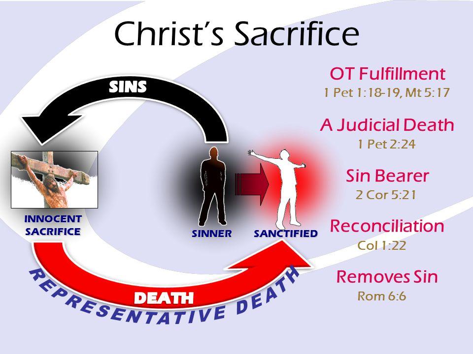 1 Pet 1:18-19, Mt 5:17 Christs Sacrifice OT Fulfillment 1 Pet 2:24 A Judicial Death 2 Cor 5:21 Sin Bearer Col 1:22 Reconciliation Rom 6:6 Removes Sin