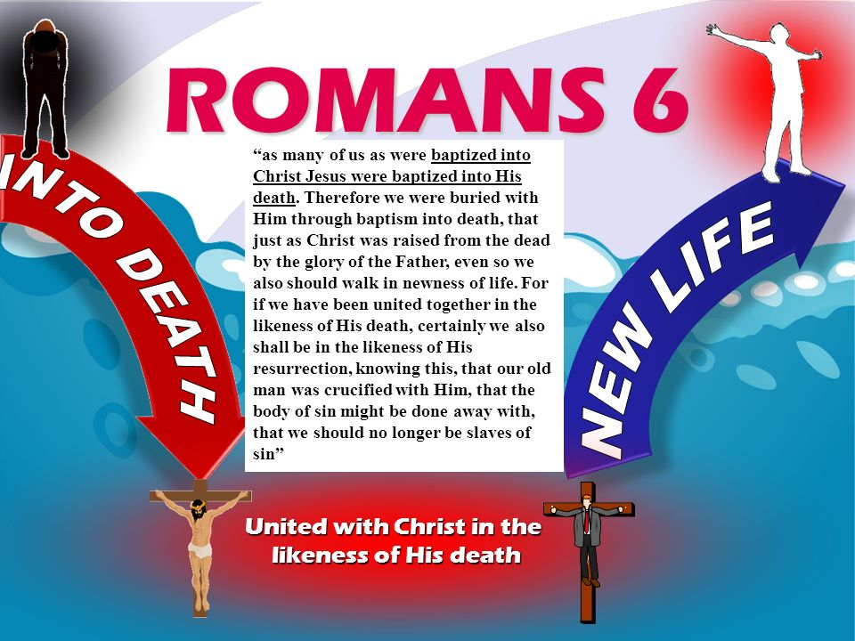 United with Christ in the likeness of His death ROMANS 6 as many of us as were baptized into Christ Jesus were baptized into His death. Therefore we w