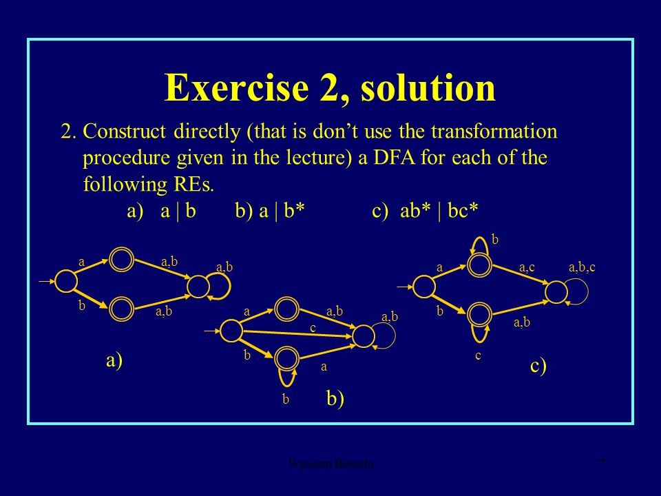 Waseem Besada7 Exercise 2, solution 2. Construct directly (that is dont use the transformation procedure given in the lecture) a DFA for each of the f