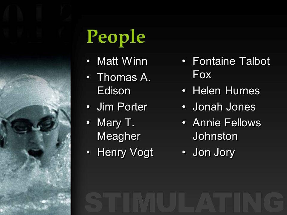 People Matt Winn Thomas A. Edison Jim Porter Mary T. Meagher Henry Vogt Matt Winn Thomas A. Edison Jim Porter Mary T. Meagher Henry Vogt Fontaine Talb