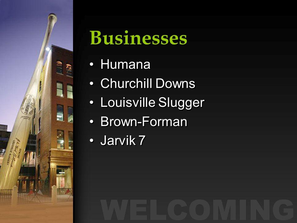 Businesses Humana Churchill Downs Louisville Slugger Brown-Forman Jarvik 7 Humana Churchill Downs Louisville Slugger Brown-Forman Jarvik 7