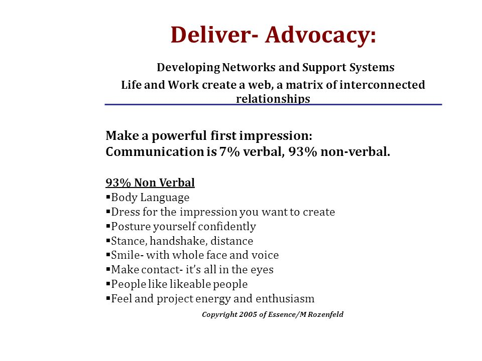 Deliver- Advocacy: Developing Networks and Support Systems Life and Work create a web, a matrix of interconnected relationships Make a powerful first impression: Communication is 7% verbal, 93% non-verbal.