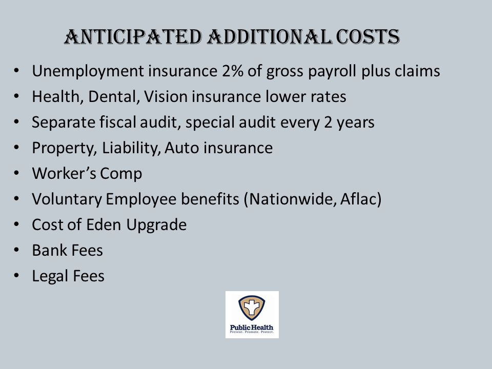Unemployment insurance 2% of gross payroll plus claims Health, Dental, Vision insurance lower rates Separate fiscal audit, special audit every 2 years Property, Liability, Auto insurance Workers Comp Voluntary Employee benefits (Nationwide, Aflac) Cost of Eden Upgrade Bank Fees Legal Fees Anticipated additional costs