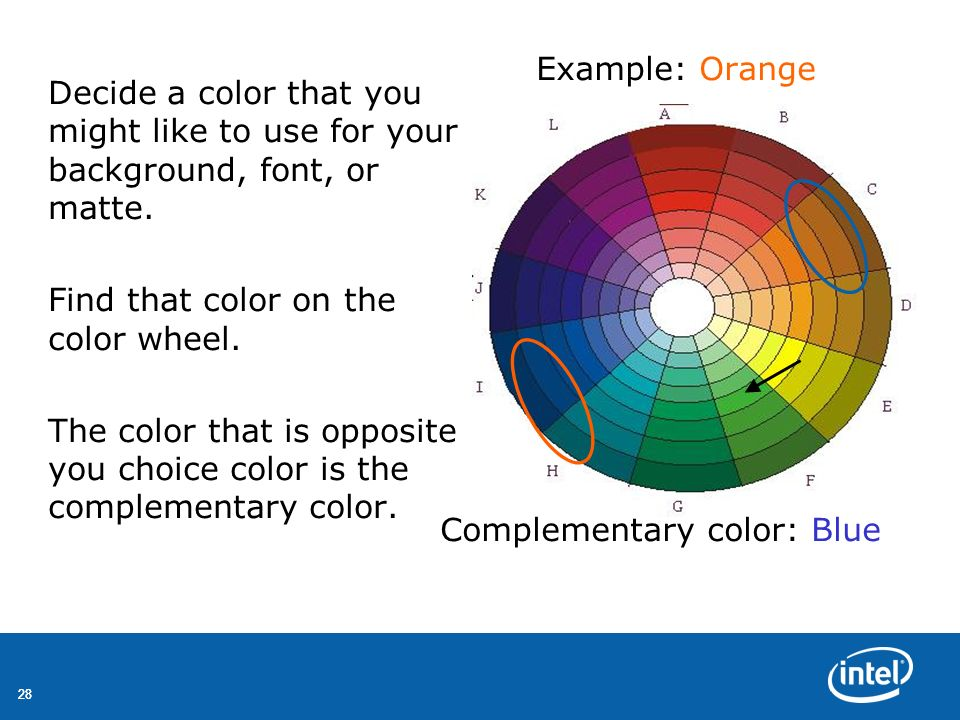 28 Decide a color that you might like to use for your background, font, or matte. Find that color on the color wheel. The color that is opposite you c