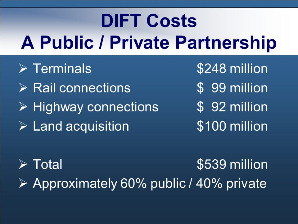 DIFT Costs A Public / Private Partnership Terminals$248 million Rail connections$ 99 million Highway connections$ 92 million Land acquisition$100 mill