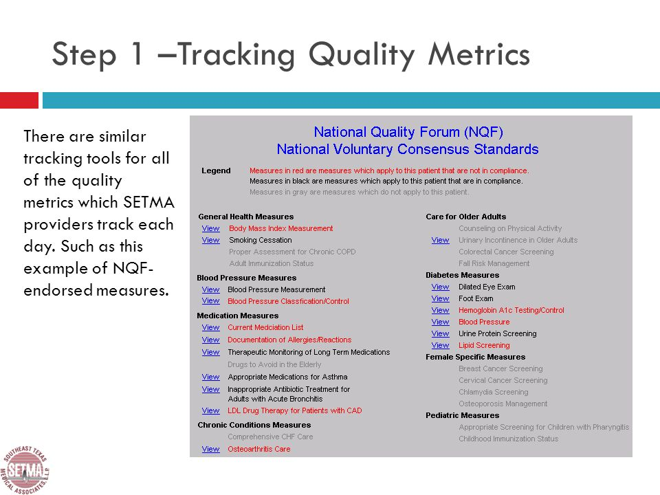 There are similar tracking tools for all of the quality metrics which SETMA providers track each day.